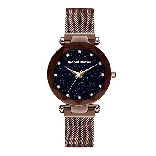 Damen Uhren, L'ananas Frauen Mode Sternenklarer Himmel Dial Diamant schneiden Freie Größe Maschengurte Armband Armbanduhr Women Watches Bracelet (Karamell)