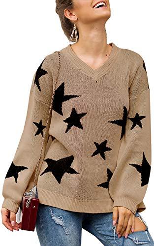 Spec4Y Damen Pullover Stern V-Ausschnitt Strickpullover Casual Lose Pulli Langarm Sweatshirt Herbst Winter Khaki M -