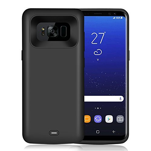 HETP 5000mAh Extended Rechargeable Battery Charging Case Portable Charger Type C Juice Pack Power Bank Protective Cover for Samsung Galaxy S8 (2017)Black -18 Month Warranty