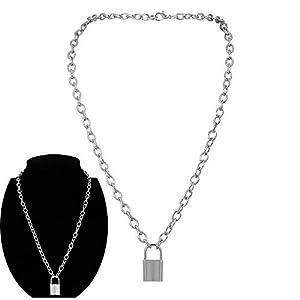 Daimay Legierung Choker Halskette Lock Anhänger für Frauen Männer Chunky Chain Punk Gothic Halsketten – Silber