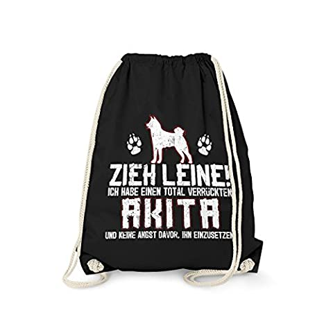 Fashionalarm Turnbeutel - Zieh Leine - verrückter Akita   Fun Rucksack mit lustigem Spruch Geschenk Idee Rasse Hunde Besitzer Züchter Gassi Inu, (Akita Inu Hund)
