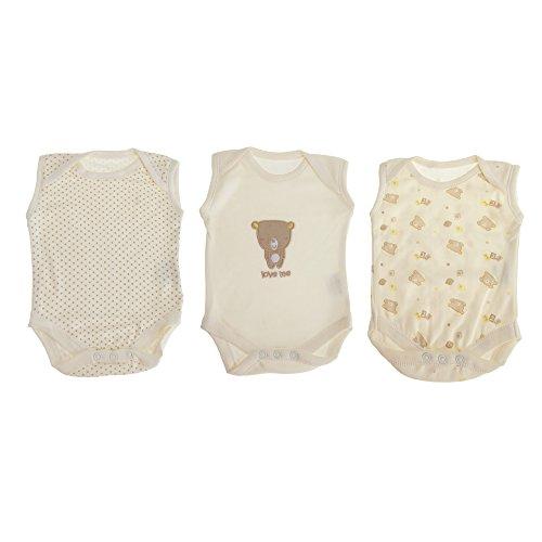Nursery Time - Body senza maniche con orsetti (confezione da 3 pezzi) (12-18 mesi) (Crema)