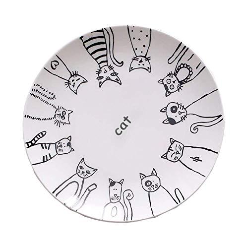 Sortim Super Süß Katze Keramikplatte Essteller Kuchenteller Vorspeise Teller Salat Schale Steak Teller Service Platte für Party Küche Geburtstag Hochzeit Gastronomie MIAU Porzellan - 1, 6 inch