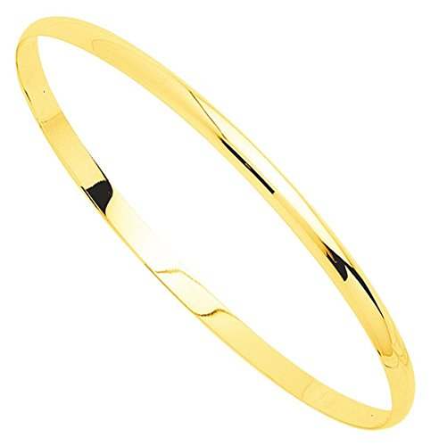 Orleo - REF7503BB : Bracelet rigide Femme Or 18K jaune - Demi-Jonc Massif 63 mm x 3.5 mm