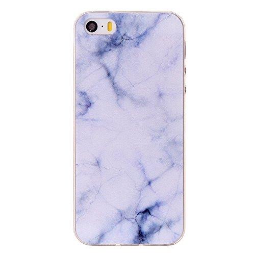iPhone 5S Hülle, SHUNDA Ultra Dünn Schutzhülle Weiche TPU Silicone Stoßstangen Handyhülle Abdeckung Rückschale Case cover für iPhone 5S - Rosa Marmor Weiß Marmor