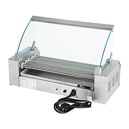 41W 2%2BkfhQL. SS500  - Royal Catering - RCHG-5E - Hot Dog Grill/Sausage Grill - 5 Heating rods - Protection Cover - 230 V - 1000 W