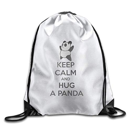 Etryrt Zaino con Coulisse,Borsa Palestra,Sacca Sportiva, Keep Calm And Hug A Panda Print Drawstring Backpack Rucksack Shoulder Bags Backpack