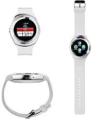 TKSTAR Smart Watch inteligente reloj de Bluetooth pulsera Fitness Tracker Deportes reloj teléfono con SIM tarjeta/TF Función /Cámara/TEXT/WhatsApp/Contador de pasos/Monitor de sueño/Despertador vibración con el teléfono inteligente Android JUY1 (Blanco)
