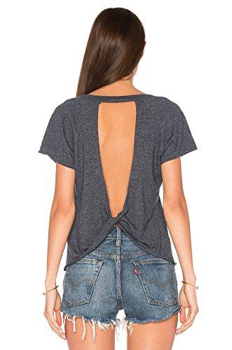 Blooming Jelly Frauen Top-geöffnete zurück geknotete Backless Kurze Hülse dünne T-Shirt