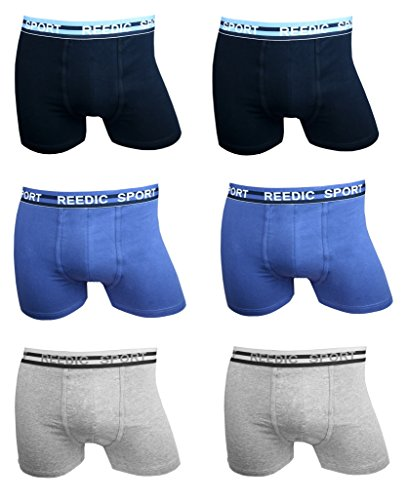 Reedic Herren Boxershorts Baumwolle 6er Pack je 2x dunkelblau, blau, grau