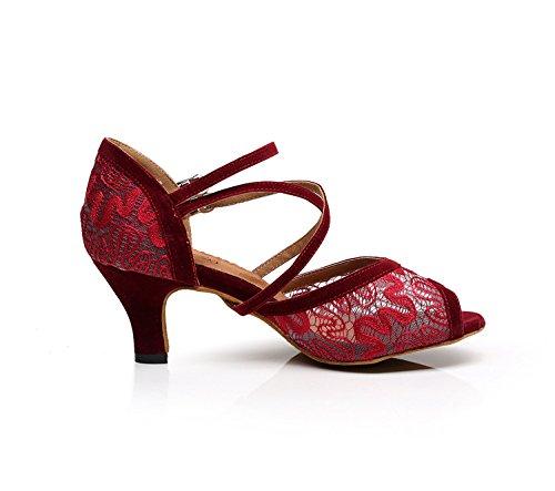 Minitoo 6 Salto Centímetros Sapatos Dançando Senhoras Vermelho De wqa1wr