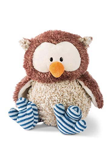 Nici 46092 Kuscheltier Eule Oscar 35cm mit Gelenk, Kopf drehbar, Flauschiges Plüschtier, süßes Stofftier für Kinder und Kuscheltierliebhaber, braun/blau