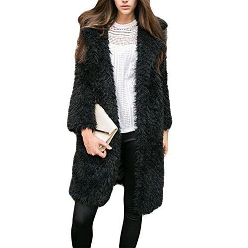 Daman langarm Plüsch Lammwollmantel Revers Mantel outwear Mäntel Tunika Parka cardigan Strickjacke (L, schwarz) (Schwarzes Langarm-ausbildung)