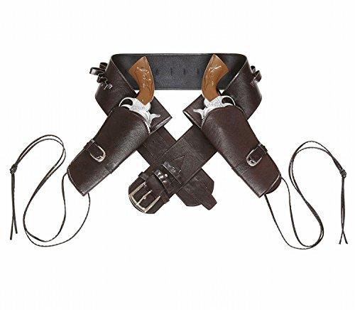 (Widmann 01053 - Cowboygürtel braun, mit 2 Tasche aus Lederimitat)