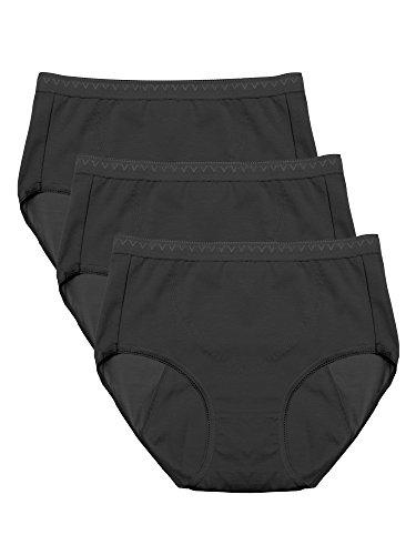 Intimate Portal Damen Baumwolle Perioden Taillenslips Menstruation Unterwäsche Für Periode Menstruations-Unterhosen 3er-Pack Schwarz M/Etikett 3L -