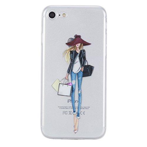 Voguecase® Per Apple iPhone 7 4.7, Custodia Silicone Morbido Flessibile TPU Custodia Case Cover Protettivo Skin Caso (unicorno 02) Con Stilo Penna Ragazza alla moda 01