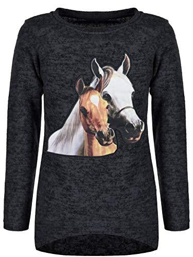Pullover Mädchen Kinder Sweatshirt Pulli Sweater Langarmshirt 30199 Schwarz 146