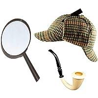Sherlock Holmes Accessorio Vestito Set Cacciatore CERVI CAPPELLO + ingrandimento VETRO + Vittoriano LOOK PIPE DETECTIVE KIT