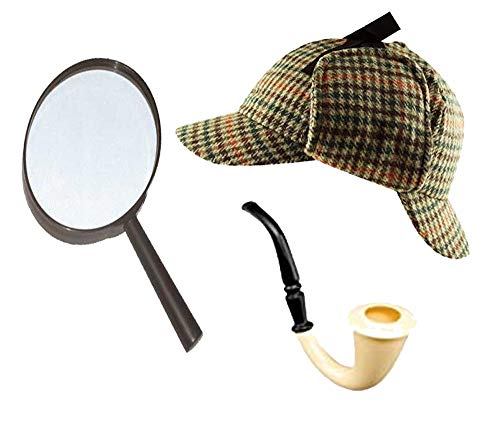 Sherlock Holmes Fancy Dress Zubehörset Deerstalker-hut + Lupe -