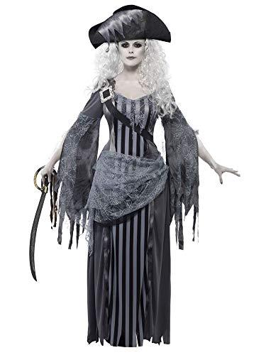 shoperama Piratin Geisterschiff Prinzessin Damen-Kostüm Kleid Hut Untote Piraten-Braut Geist Halloween Horror, Größe:L