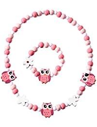 BESTOYARD Brazalete de dibujos animados colorido animal forma pulsera collar conjunto de joyas para niños niñas