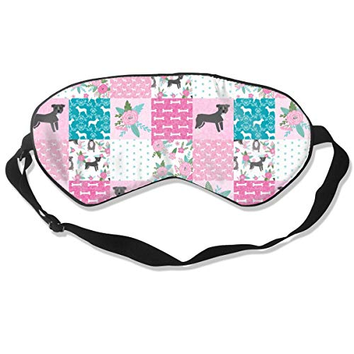 Pitbull Cheater Floral, Top, Patchwork, Dog, Dog D 100% Silk Sleep Mask Comfortable Non-Toxic, Odorless and Harmless,Soft Blindfold Eye Mask Good for Travel and Sleep -