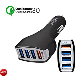 ULTRICS Caricabatteria da Auto, 4 Porte Quick Charge 3.0 Caricatore USB Qualcomm QC 3.0 Adattatore di Ricarica Veloce per smartphone Android Samsung S9/S8 Plus, Sony Apple iPhone X/8 Plus- Nero