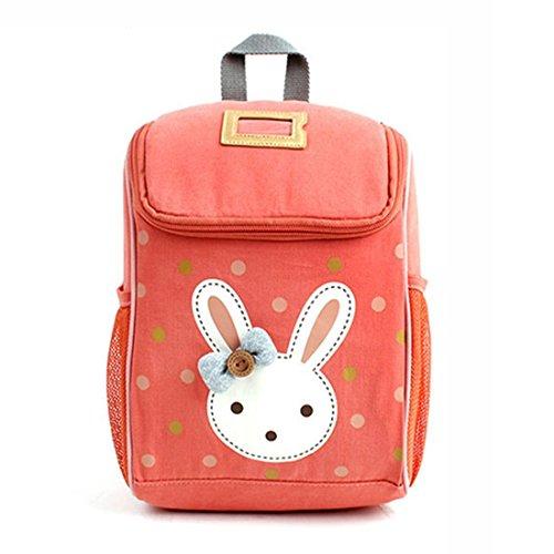 JameStyle26 Rabbit Bunny Kinderrucksack Kindergarten Tornister Häschen Rucksack Tasche Schultasche Backpack Mädchen Junge (Orange)