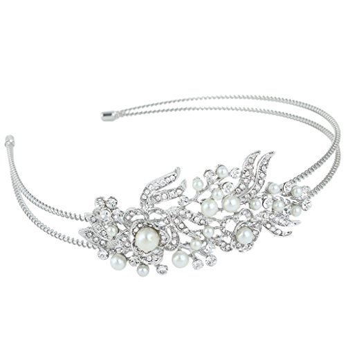 EVER FAITH Crystal Gatsby Inspired Ivory Color Simulated Pearl Hair Band Accessory