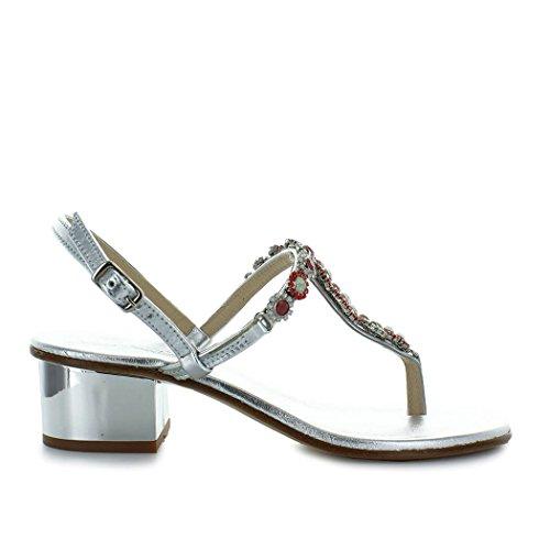 Giallo scarpe da donna sandalo mezzo tacco argento swarovski positano primavera estate 2018