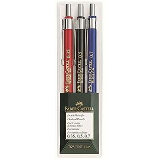 Faber-Castell 130622portaminas tk-Fine Estuche de 3Unidades (por un lápiz 0,35mm, 0,5mm y 0,7mm) bajo de Juego