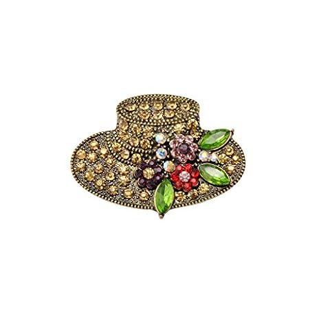 MagiDeal Broche Chapeau en Strass Multicolore Vintage Rétro Bijoux Fantaisie