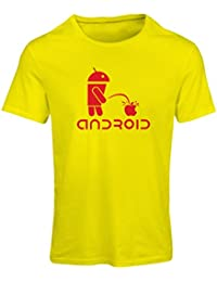 N4247F Frauen T-Shirt Funny Robot and apple