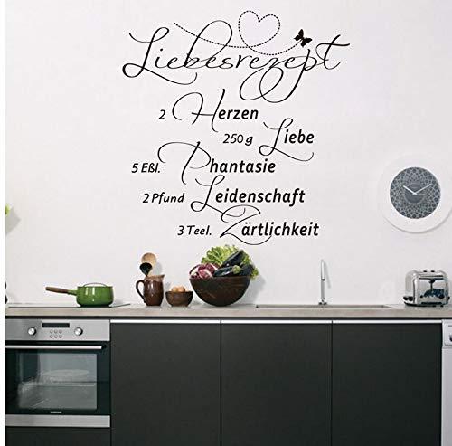 Wiwhy Deutsch Love Rezept Zitate Kunst Vinyl Wandaufkleber Küche RationHome Decals Wallpape57X59Cm