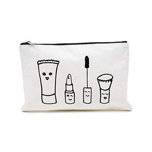 prettique Beauty Bag mit Reißverschluss und Zeichnung als Aufdruck, 21x15cm