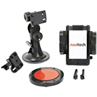 Navitech Supporto da Parabrezza per Auto a 360 gradi rotazione + Adesivo Circolare Disco Dash Universale per Nuvi 750
