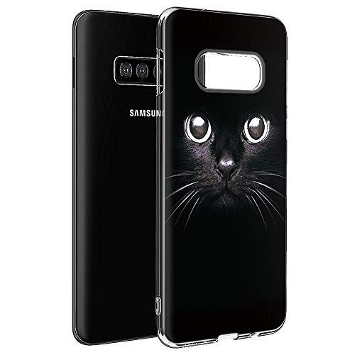 Pnakqil Coque Samsung Galaxy S7 Edge, Etui en Silicone 3D Transparente avec Motif Dessin Antichoc TPU Housse de Protection Case Cover Bumper Coque pour Téléphone Samsung S7 Edge,-Chat Noir