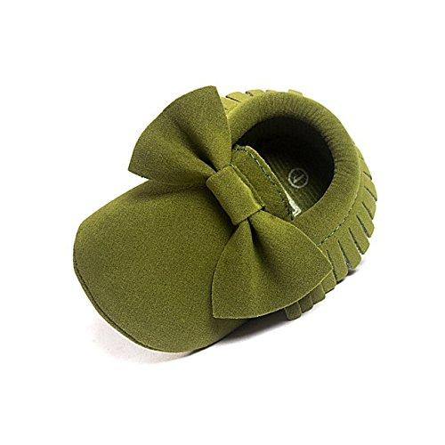 kingko® Bébé Unisexe Filles Garçons Crib Glands Paillettes Chaussures Toddler souples Sole Sneakers Prewalkers Casual 0-18 mois 4 Couleurs Army Green