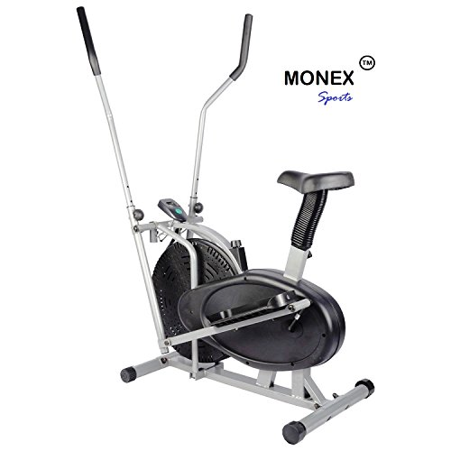 Monex Orbitrek 4 in 1 Exercise Bike| Multi Orbitrek Elliptical Cardio Workout|Orbitreck Dual Action Trainer with Seat| Fitness Cross Trainer Cycle| Sitting Pedaling/Standing Rowing| Orbitrek Cycle