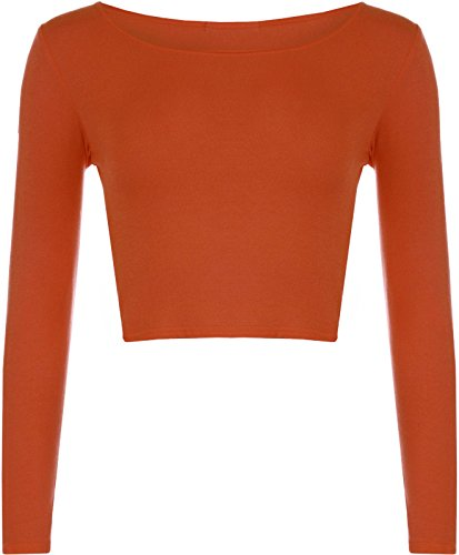 Janisramone Frauen lange Ärmel Rundhalsausschnitt Ernte oben t shirt Rust