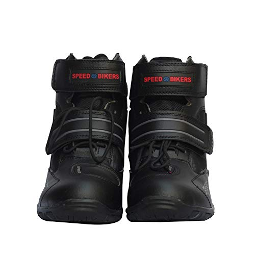 LANLAN Stivali da moto morbidi Scarpe impermeabili antiscivoli da motociclista per uomo - Nero 43