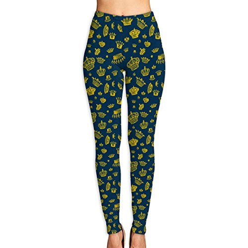Abusss Sportswear-Strumpfhosen Leggings für Damen, Royal Crowns - Yellow On Blue Womens Ultra Soft Leggings Fashion High Waist Yoga Pants Printed Sport Workout Leggings Tight Pants