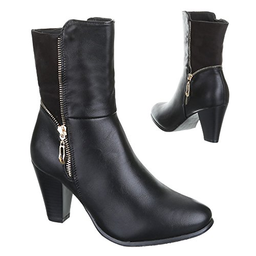 Damen Schuhe, B2899-KB, WARM GEFÜTTERTE STIEFELETTEN Schwarz