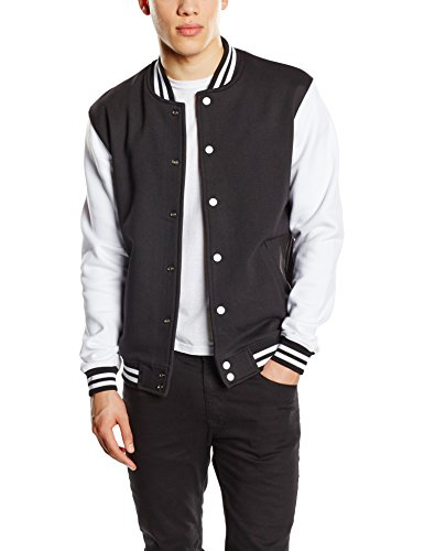 Urban Classics - 2-tone College Sweatjacket, Felpa Uomo, Multicolore (Blk/Wht), Medium (Taglia Produttore: Medium)
