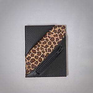 Kreditkartenetui Cardholder Herrengeldbeutel Visitenkarten Etui tablet Kork Leopard schwarz Münzfach RFID-secure…
