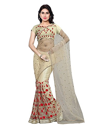 JHTEX FASHION Women\'s Net Saree With Blouse Piece (Aneri01_Off White)