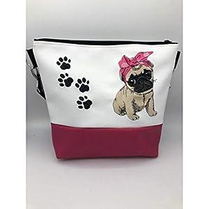 Handtasche Hund Mops mit Haarband Schultertasche/Umhängetasche *bestickt