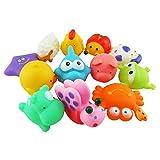 12pcs Juguetes del Baño Goma Chillones del Animal para Bebés Niños