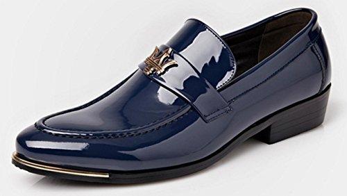NSPX Scarpe da uomo di affari di degli uomini Calzature da donna di cuoio scarpe di abito da banchetto di nozze , blue , 39 41-BLUE