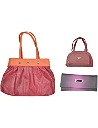 JHD Red Shoulder Bag With 2 Hand Bag Red-Purple Set Of 3 Pcs Combo